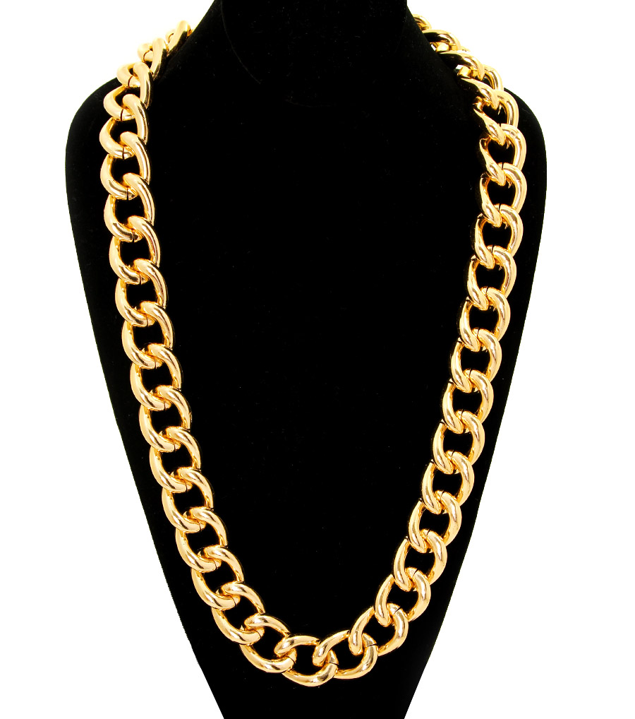 Chunky Gold Curb Chain Necklace, Unisex Urban Jewelry, 30